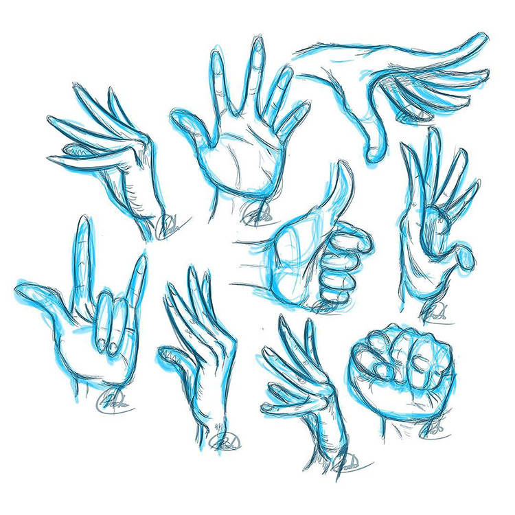 Blue highlight hand sketches
