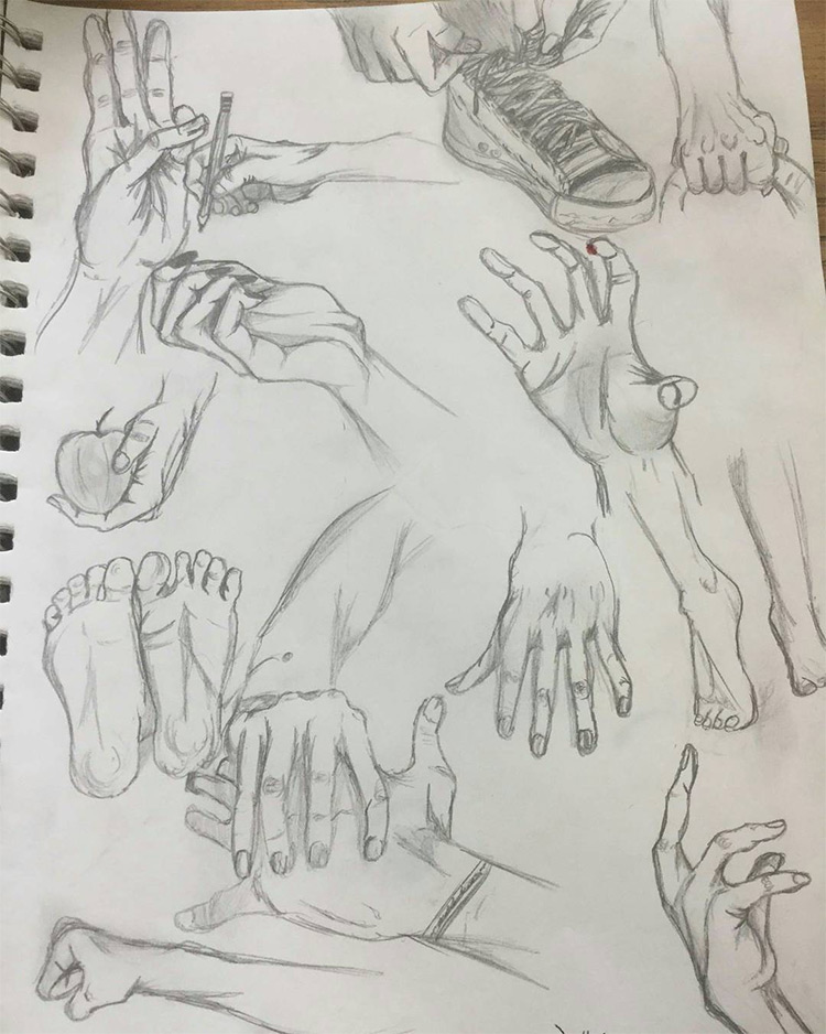Various hand sketching poses