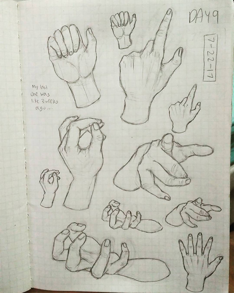 Drawing fingers in poses