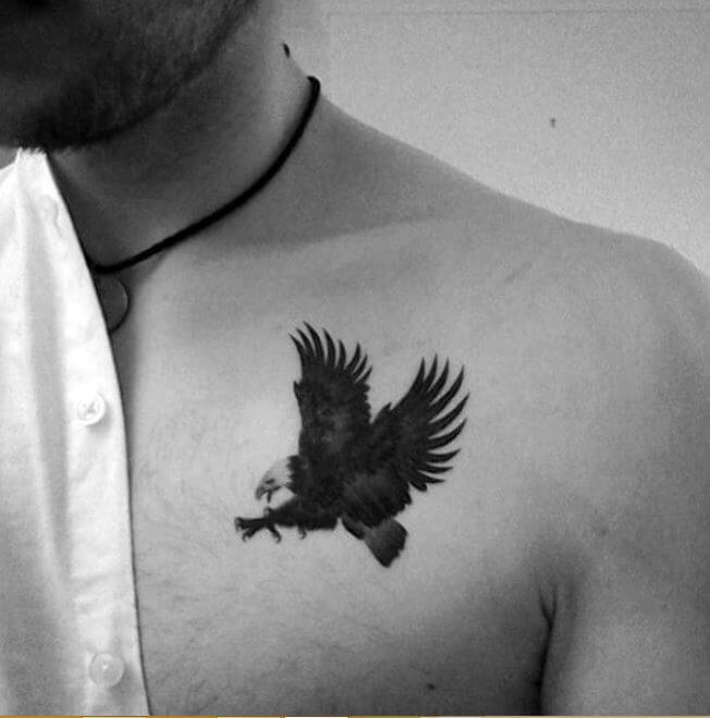 Small Eagle Tattoos On Chest