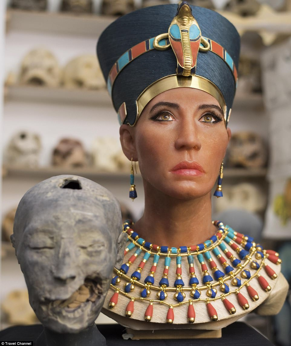 The face of Queen Nefertiti, who could have been the mother of King Tutankhamun, has been brought to life using the latest 3D imaging technology. It took 500 hours to bring her to life and the jewellery was even handcrafted by designers from Dior