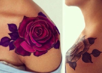 shoulder-tattoos-women-pink-rose