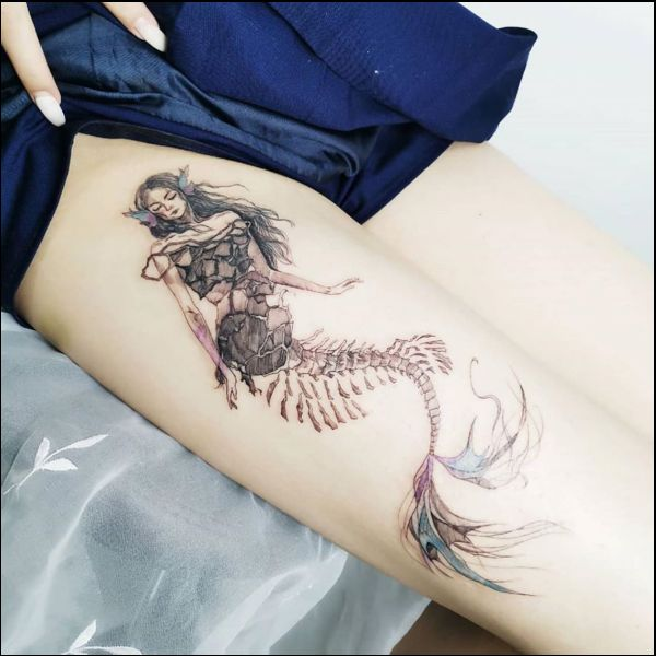 mermaid tattoos on thigh