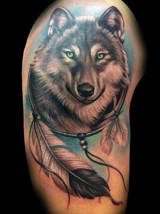 13-Indian-style-Wolf-Tattoo
