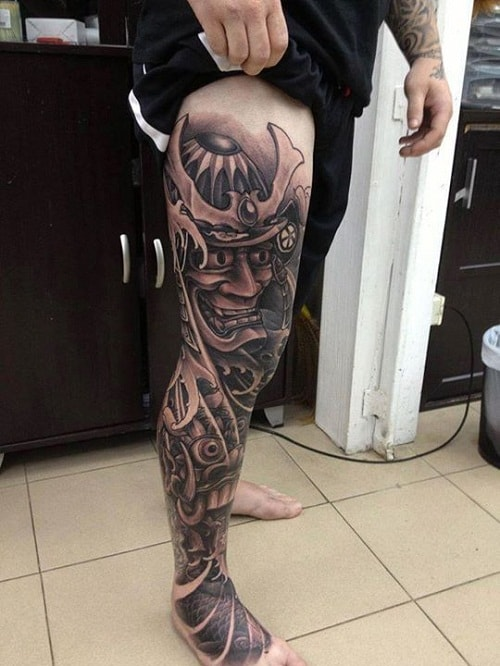 Samurai Tattoo on Entire Leg